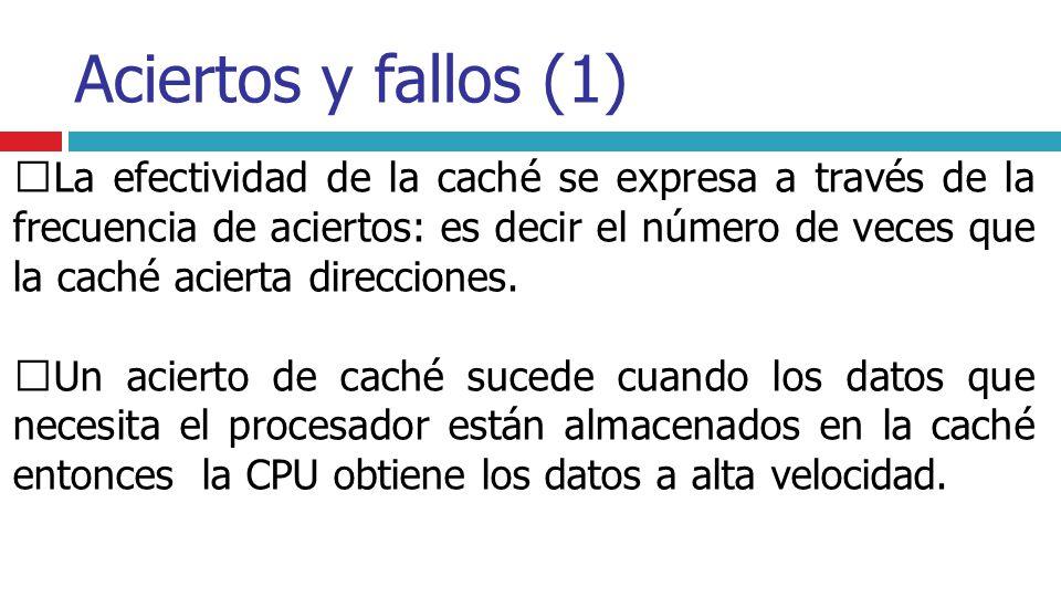 Aciertos y fallos (1) La efectividad de la caché se expresa a través de la frecuencia de aciertos: es decir el número de veces que la caché acierta di