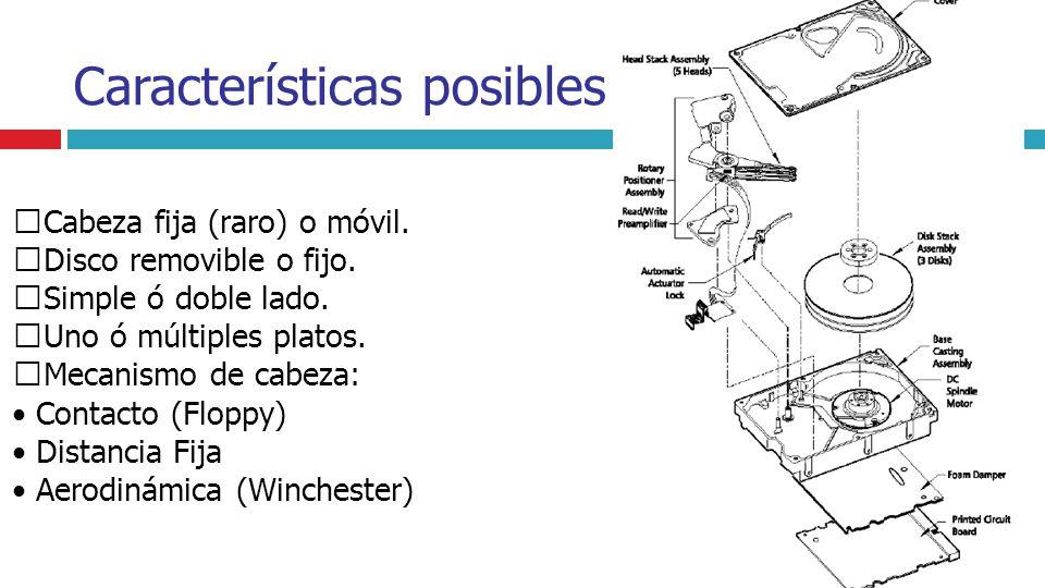 Características posibles Cabeza fija (raro) o móvil. Disco removible o fijo. Simple ó doble lado. Uno ó múltiples platos. Mecanismo de cabeza: Contact
