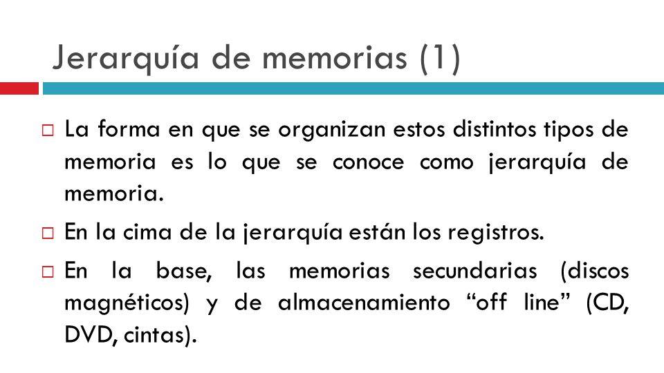 Jerarquía de memorias (1) La forma en que se organizan estos distintos tipos de memoria es lo que se conoce como jerarquía de memoria. En la cima de l