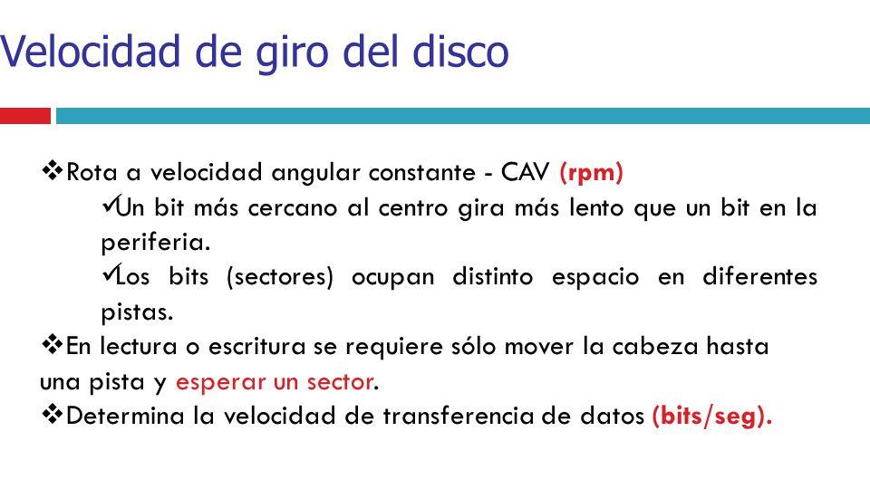 Velocidad de giro del disco Rota a velocidad angular constante - CAV (rpm) Un bit más cercano al centro gira más lento que un bit en la periferia. Los