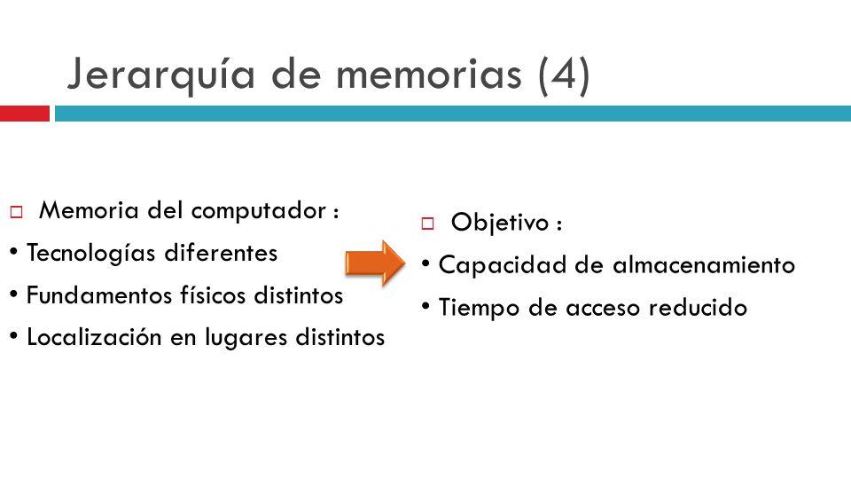 Jerarquía de memorias (4) Memoria del computador : Tecnologías diferentes Fundamentos físicos distintos Localización en lugares distintos Objetivo : C