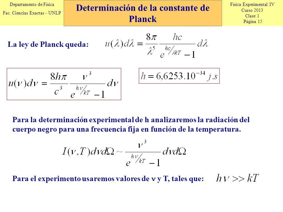 Física Experimental IV Curso 2013 Clase 1 Página 15 Departamento de Física Fac.