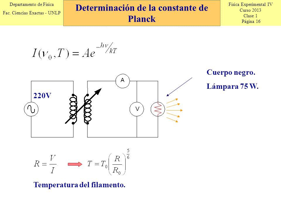 Física Experimental IV Curso 2013 Clase 1 Página 16 Departamento de Física Fac.