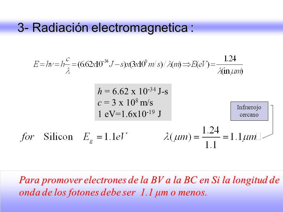 3- Radiación electromagnetica : h = 6.62 x 10 -34 J-s c = 3 x 10 8 m/s 1 eV=1.6x10 -19 J Para promover electrones de la BV a la BC en Si la longitud d