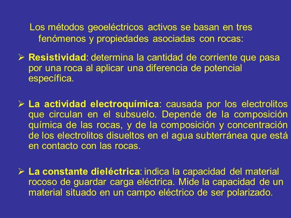 Los métodos geoeléctricos activos se basan en tres fenómenos y propiedades asociadas con rocas: Resistividad: determina la cantidad de corriente que p