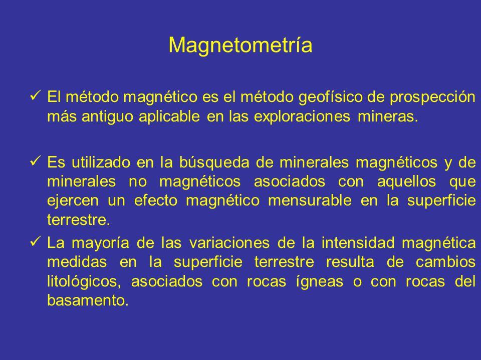 Magnetometría El método magnético es el método geofísico de prospección más antiguo aplicable en las exploraciones mineras. Es utilizado en la búsqued