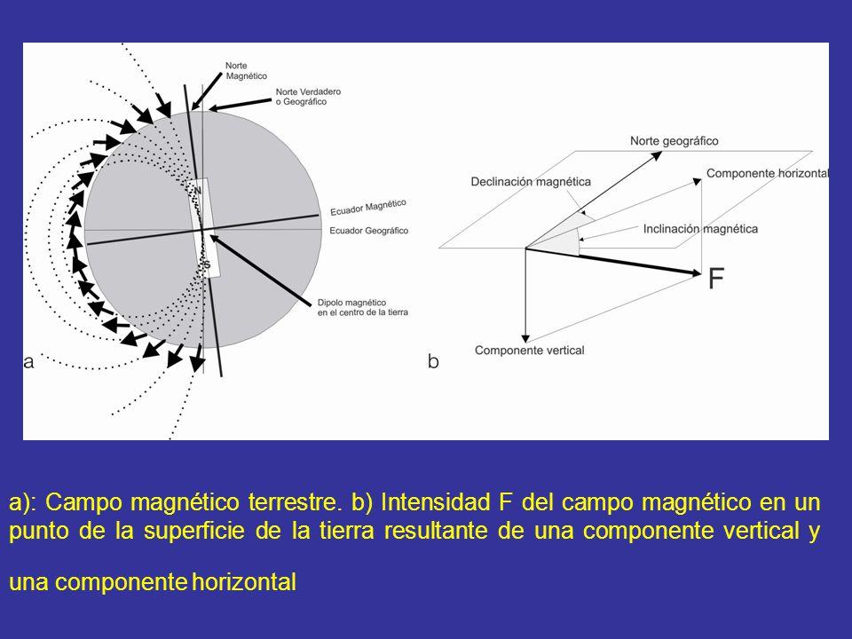 a): Campo magnético terrestre. b) Intensidad F del campo magnético en un punto de la superficie de la tierra resultante de una componente vertical y u