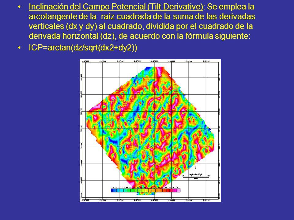 Inclinación del Campo Potencial (Tilt Derivative): Se emplea la arcotangente de la raíz cuadrada de la suma de las derivadas verticales (dx y dy) al cuadrado, dividida por el cuadrado de la derivada horizontal (dz), de acuerdo con la fórmula siguiente: ICP=arctan(dz/sqrt(dx2+dy2))