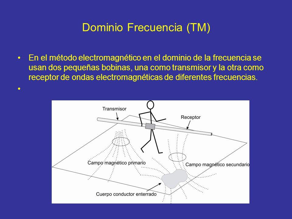 Dominio Frecuencia (TM) En el método electromagnético en el dominio de la frecuencia se usan dos pequeñas bobinas, una como transmisor y la otra como receptor de ondas electromagnéticas de diferentes frecuencias.