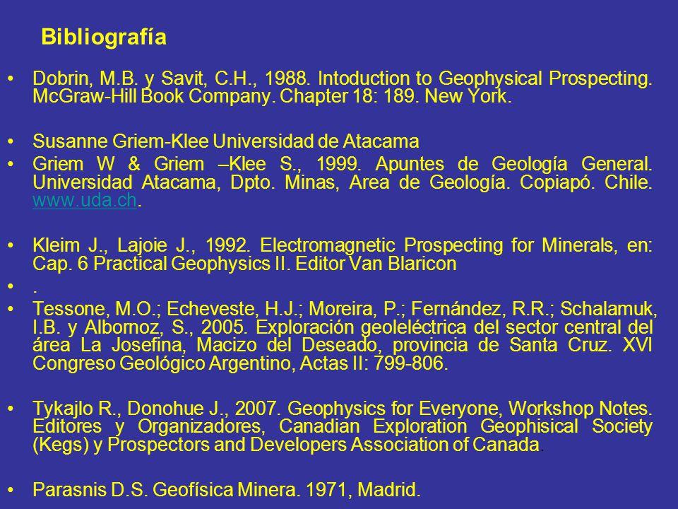 Bibliografía Dobrin, M.B.y Savit, C.H., 1988. Intoduction to Geophysical Prospecting.