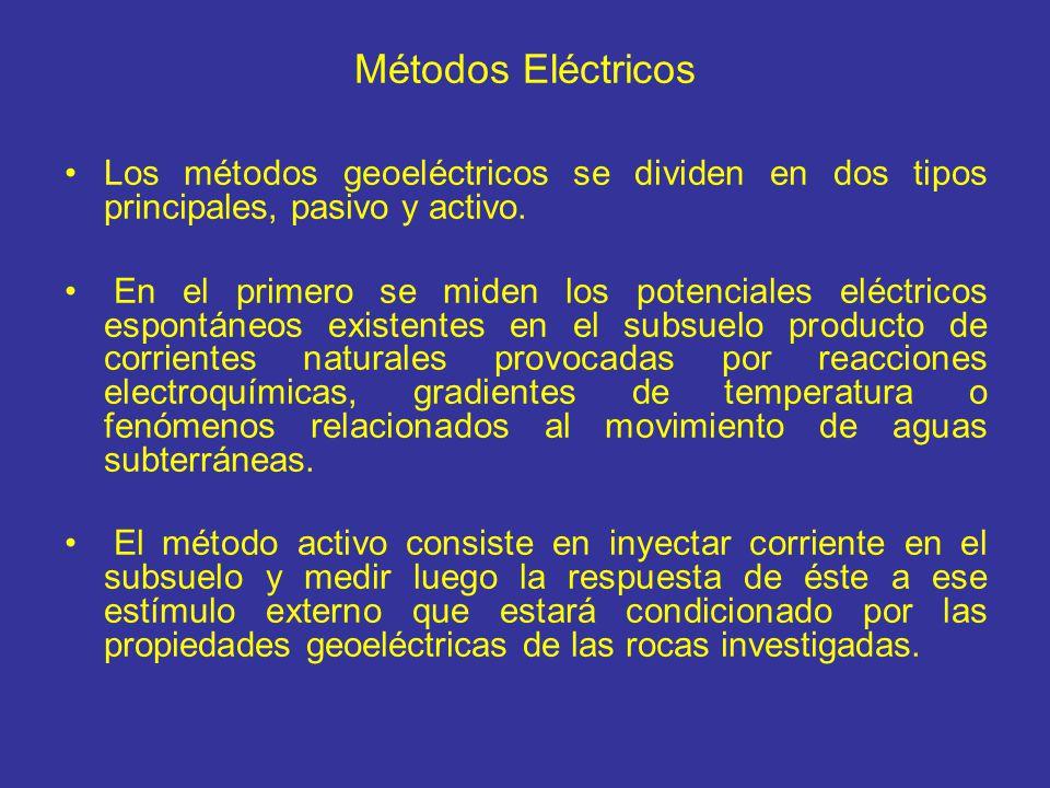 Métodos Eléctricos Los métodos geoeléctricos se dividen en dos tipos principales, pasivo y activo. En el primero se miden los potenciales eléctricos e