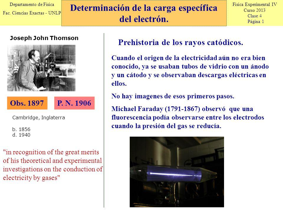 Fisica Experimental IV Curso 2013 Clase 4 Página 1 Departamento de Física Fac. Ciencias Exactas - UNLP Determinación de la carga específica del electr