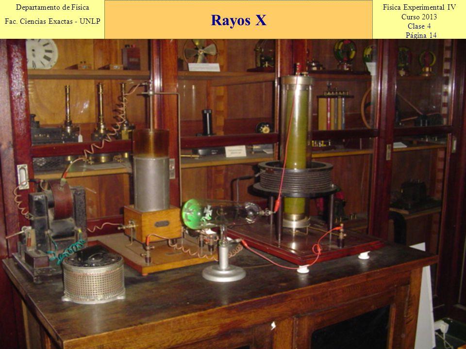 Fisica Experimental IV Curso 2013 Clase 4 Página 14 Departamento de Física Fac. Ciencias Exactas - UNLP Rayos X