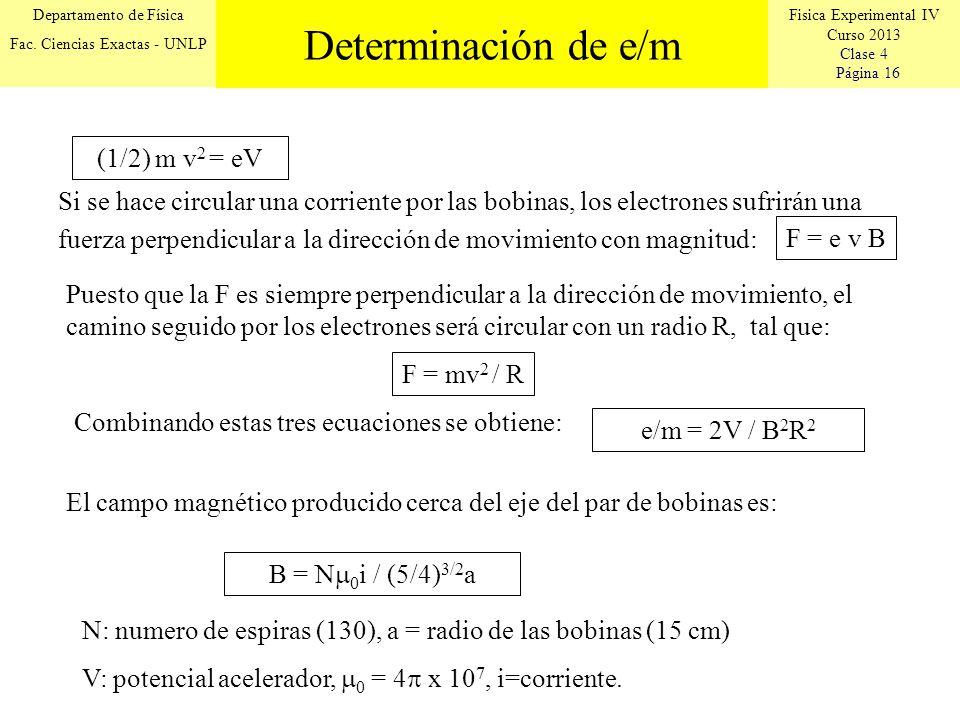 Fisica Experimental IV Curso 2013 Clase 4 Página 16 Departamento de Física Fac. Ciencias Exactas - UNLP Si se hace circular una corriente por las bobi