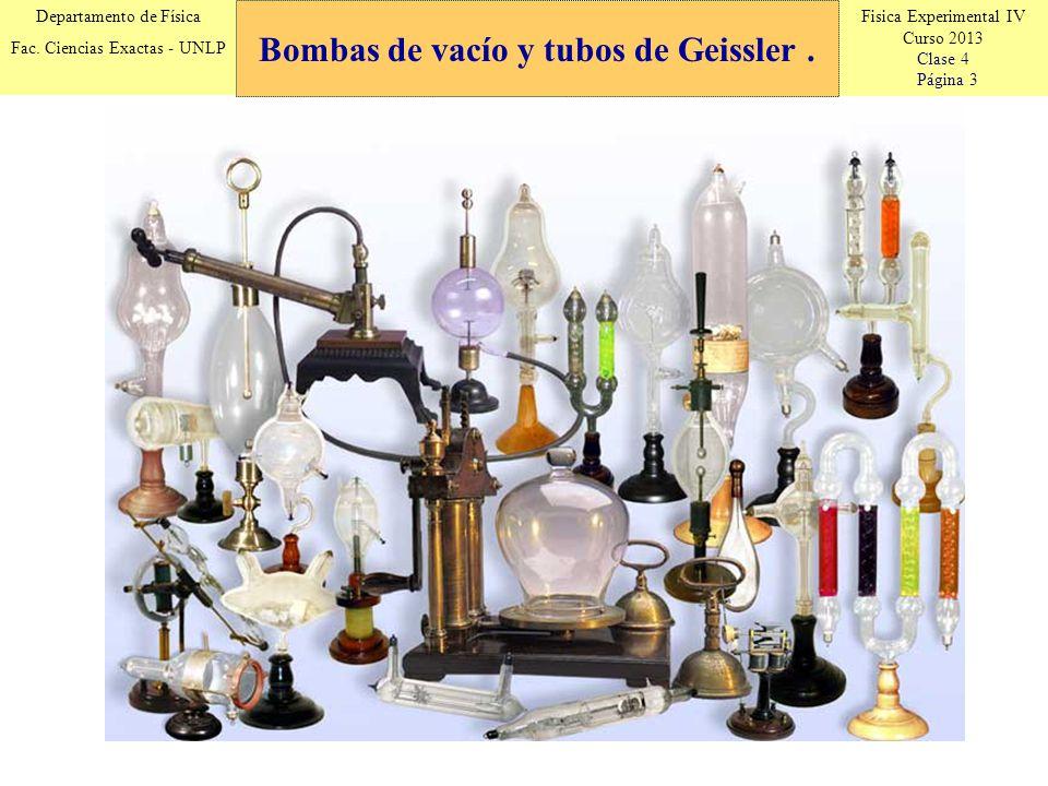 Fisica Experimental IV Curso 2013 Clase 4 Página 3 Departamento de Física Fac. Ciencias Exactas - UNLP Bombas de vacío y tubos de Geissler.