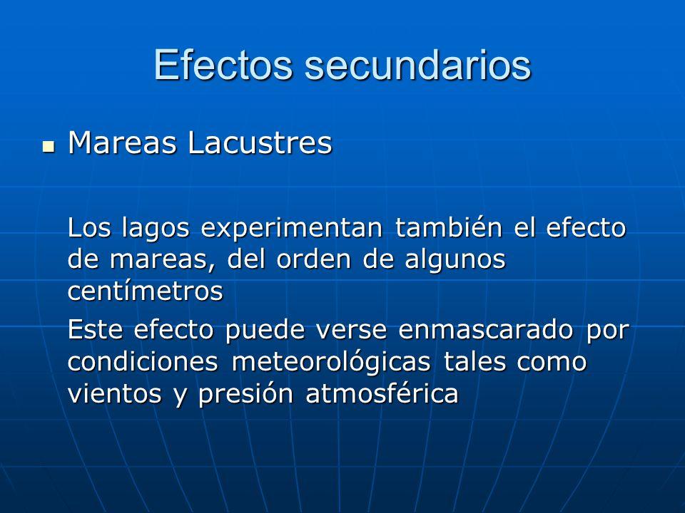 Efectos secundarios Mareas Lacustres Mareas Lacustres Los lagos experimentan también el efecto de mareas, del orden de algunos centímetros Este efecto puede verse enmascarado por condiciones meteorológicas tales como vientos y presión atmosférica
