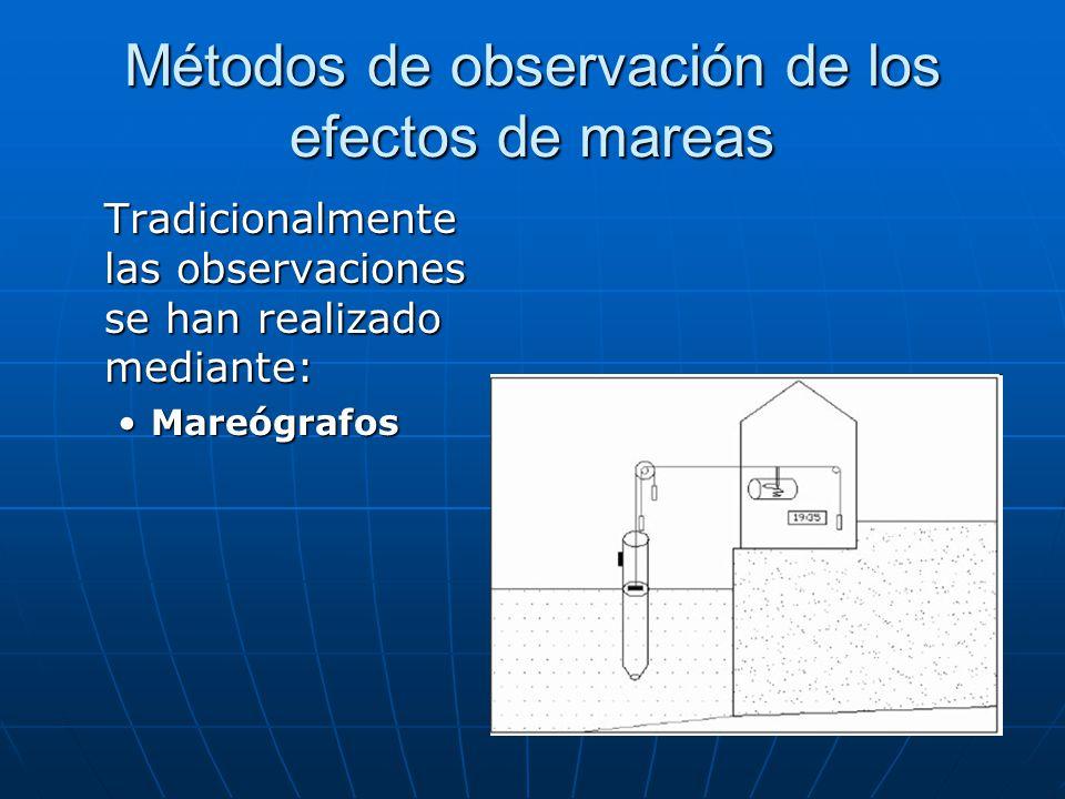 Métodos de observación de los efectos de mareas Tradicionalmente las observaciones se han realizado mediante: MareógrafosMareógrafos