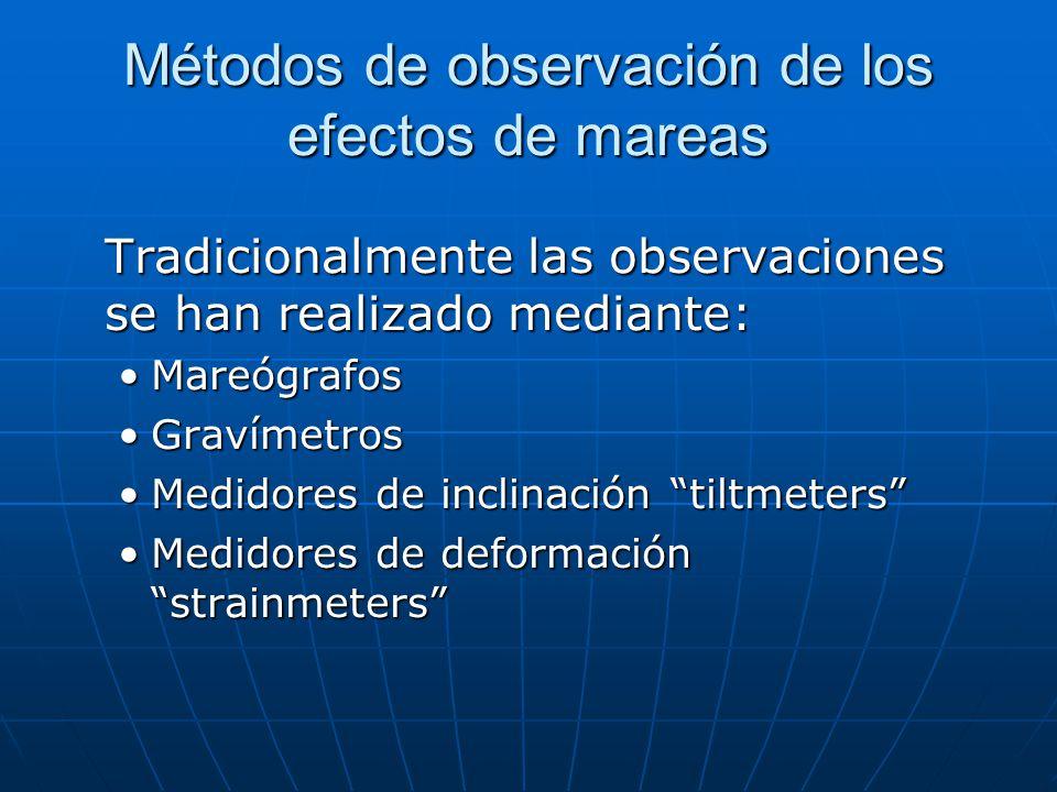Métodos de observación de los efectos de mareas Tradicionalmente las observaciones se han realizado mediante: MareógrafosMareógrafos GravímetrosGravímetros Medidores de inclinación tiltmetersMedidores de inclinación tiltmeters Medidores de deformación strainmetersMedidores de deformación strainmeters