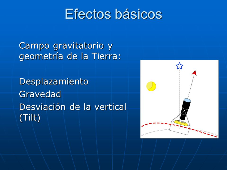 Efectos básicos Campo gravitatorio y geometría de la Tierra: DesplazamientoGravedad Desviación de la vertical (Tilt) Deformaciones (Strain)