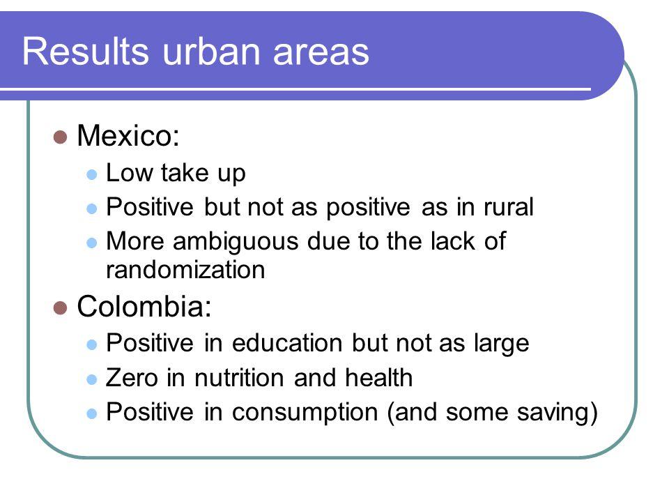 New challenges: CCT expansions Different context from rural PROGRESA/ Oportunidades or rural Familias en Acción.