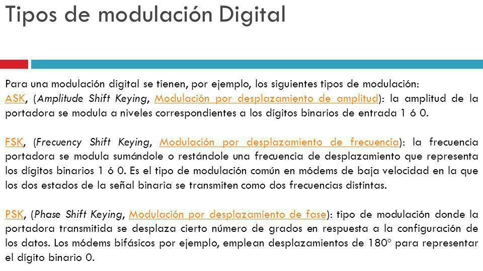 Tipos de modulación Digital Para una modulación digital se tienen, por ejemplo, los siguientes tipos de modulación: ASKASK, (Amplitude Shift Keying, M