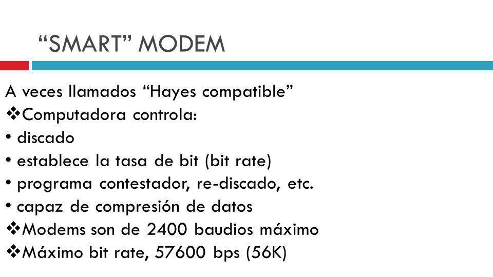 SMART MODEM A veces llamados Hayes compatible Computadora controla: discado establece la tasa de bit (bit rate) programa contestador, re-discado, etc.