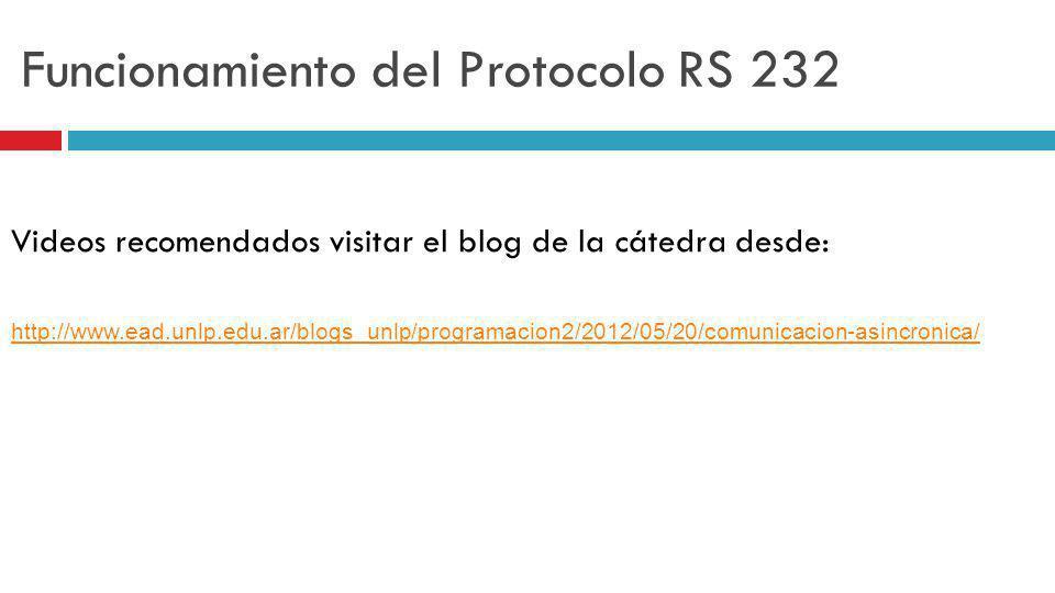 Funcionamiento del Protocolo RS 232 Videos recomendados visitar el blog de la cátedra desde: http://www.ead.unlp.edu.ar/blogs_unlp/programacion2/2012/