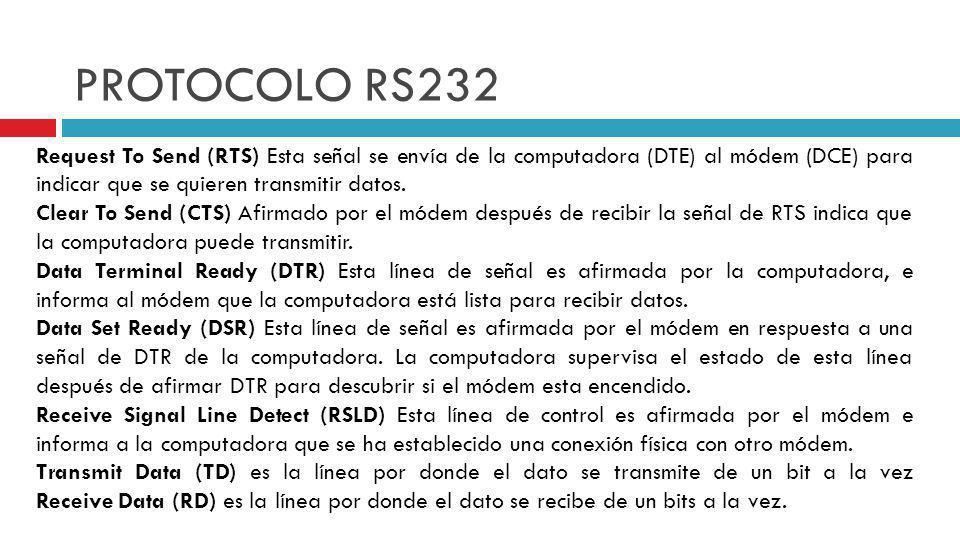 PROTOCOLO RS232 Request To Send (RTS) Esta señal se envía de la computadora (DTE) al módem (DCE) para indicar que se quieren transmitir datos. Clear T