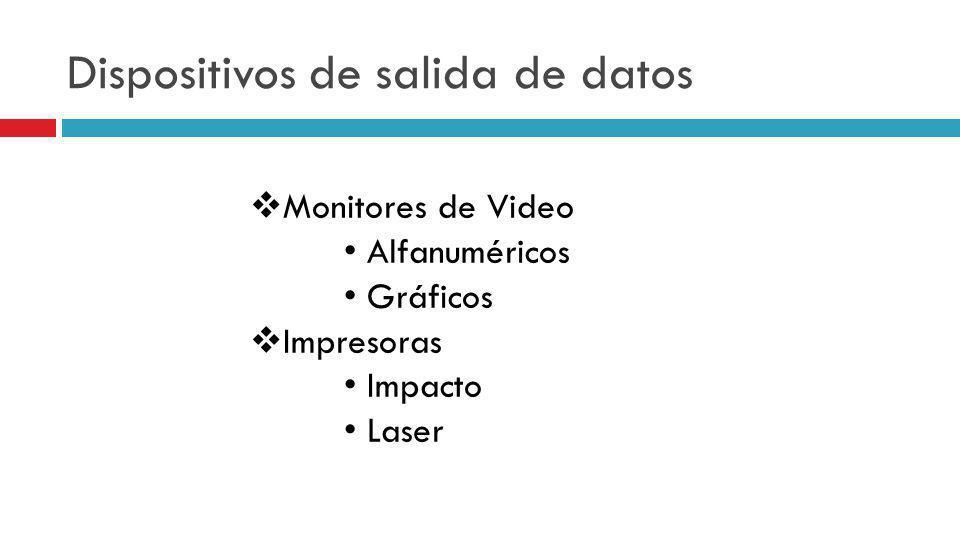 Monitores de Video Alfanuméricos Gráficos Impresoras Impacto Laser Dispositivos de salida de datos