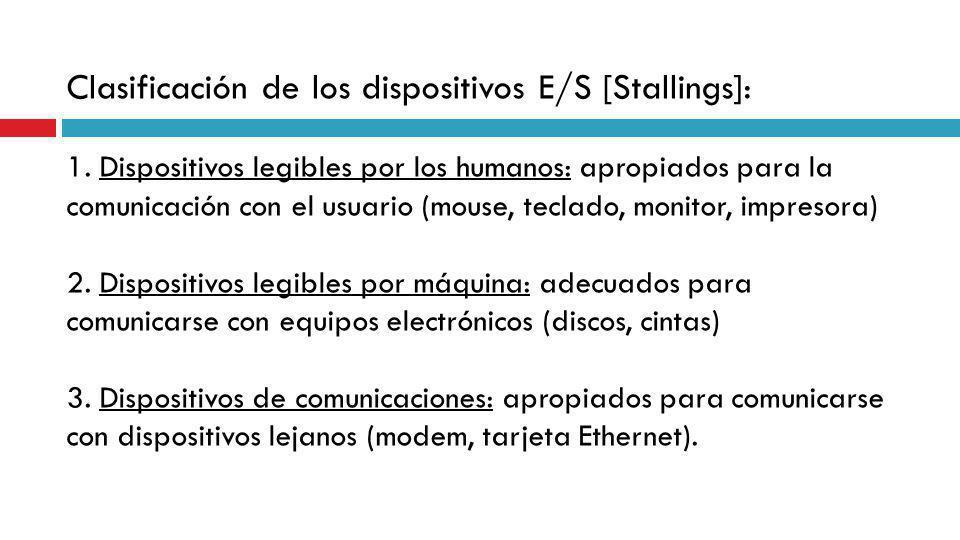Clasificación de los dispositivos E/S [Stallings]: 1. Dispositivos legibles por los humanos: apropiados para la comunicación con el usuario (mouse, te
