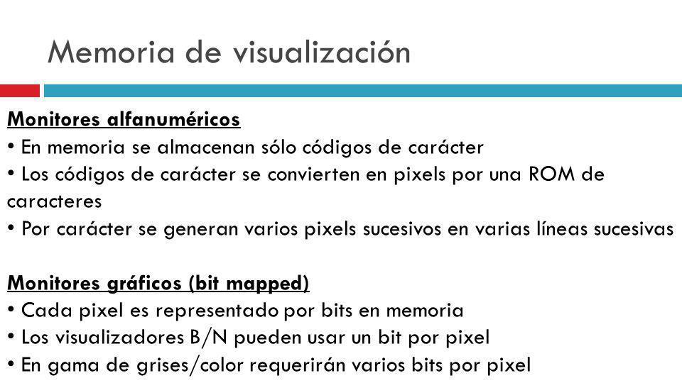 Memoria de visualización Monitores alfanuméricos En memoria se almacenan sólo códigos de carácter Los códigos de carácter se convierten en pixels por
