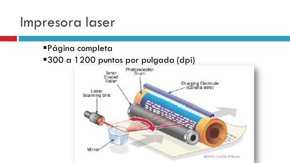 Impresora laser Página completa 300 a 1200 puntos por pulgada (dpi)