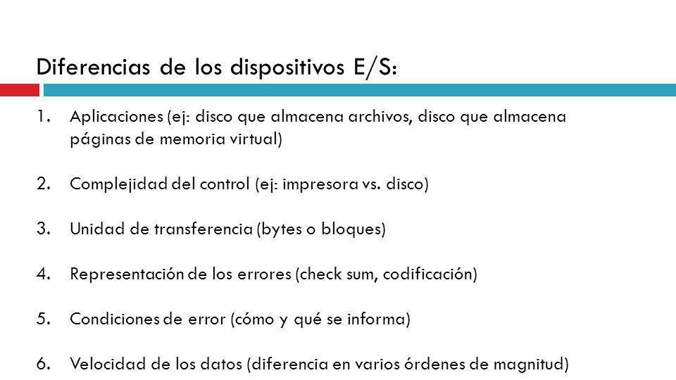 Diferencias de los dispositivos E/S: 1.Aplicaciones (ej: disco que almacena archivos, disco que almacena páginas de memoria virtual) 2.Complejidad del
