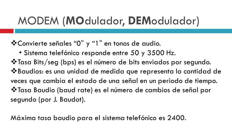 MODEM (MOdulador, DEModulador) Convierte señales 0 y 1 en tonos de audio. Sistema telefónico responde entre 50 y 3500 Hz. Tasa Bits/seg (bps) es el nú