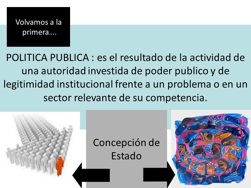 POLITICA PUBLICA : es el resultado de la actividad de una autoridad investida de poder publico y de legitimidad institucional frente a un problema o e