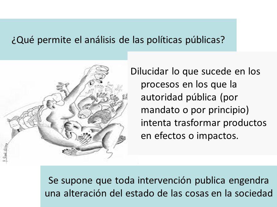 ¿Qué permite el análisis de las políticas públicas? Dilucidar lo que sucede en los procesos en los que la autoridad pública (por mandato o por princip