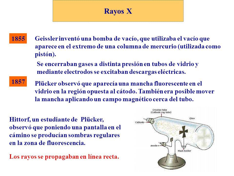 Rayos X 1857 Geissler inventó una bomba de vacío, que utilizaba el vacío que aparece en el extremo de una columna de mercurio (utilizada como pistón).