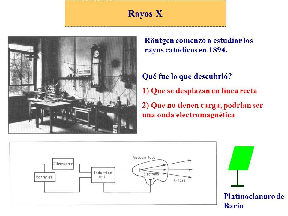 Rayos X Röntgen comenzó a estudiar los rayos catódicos en 1894. Platinocianuro de Bario Qué fue lo que descubrió? 1) Que se desplazan en línea recta 2