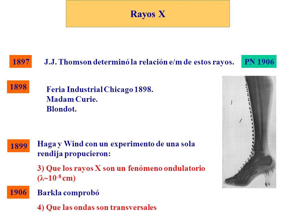 1899 Haga y Wind con un experimento de una sola rendija propucieron: 3) Que los rayos X son un fenómeno ondulatorio (λ~10 -8 cm) Barkla comprobó 4) Qu