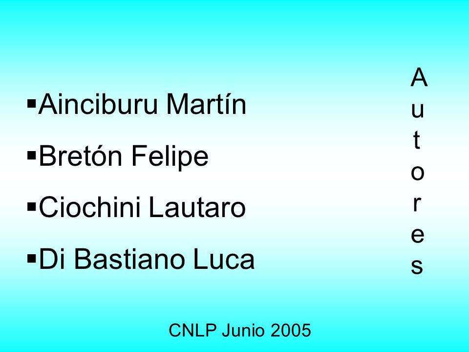 Autores Autores Ainciburu Martín Bretón Felipe Ciochini Lautaro Di Bastiano Luca CNLP Junio 2005