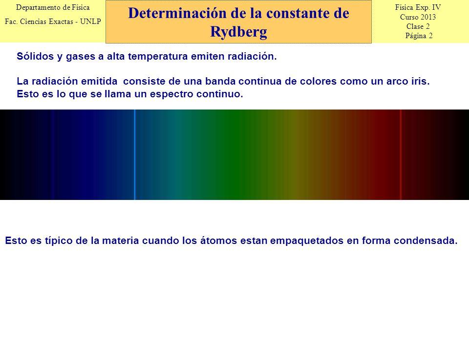 Física Exp. IV Curso 2013 Clase 2 Página 2 Departamento de Física Fac. Ciencias Exactas - UNLP Esto es típico de la materia cuando los átomos estan em
