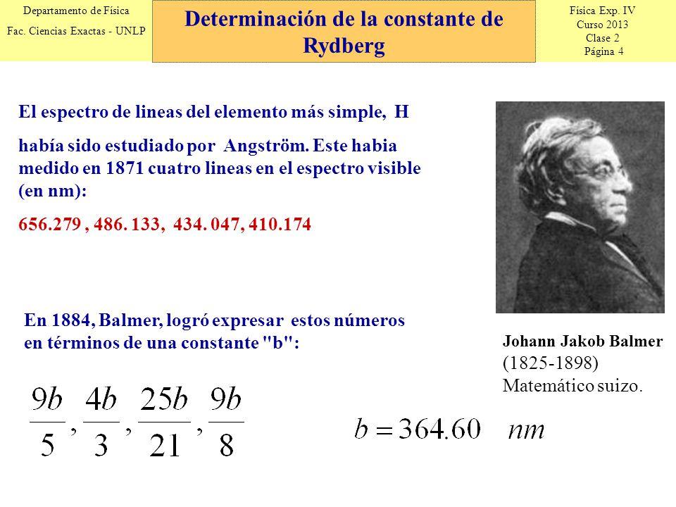 Física Exp. IV Curso 2013 Clase 2 Página 4 Departamento de Física Fac. Ciencias Exactas - UNLP Determinación de la constante de Rydberg Johann Jakob B