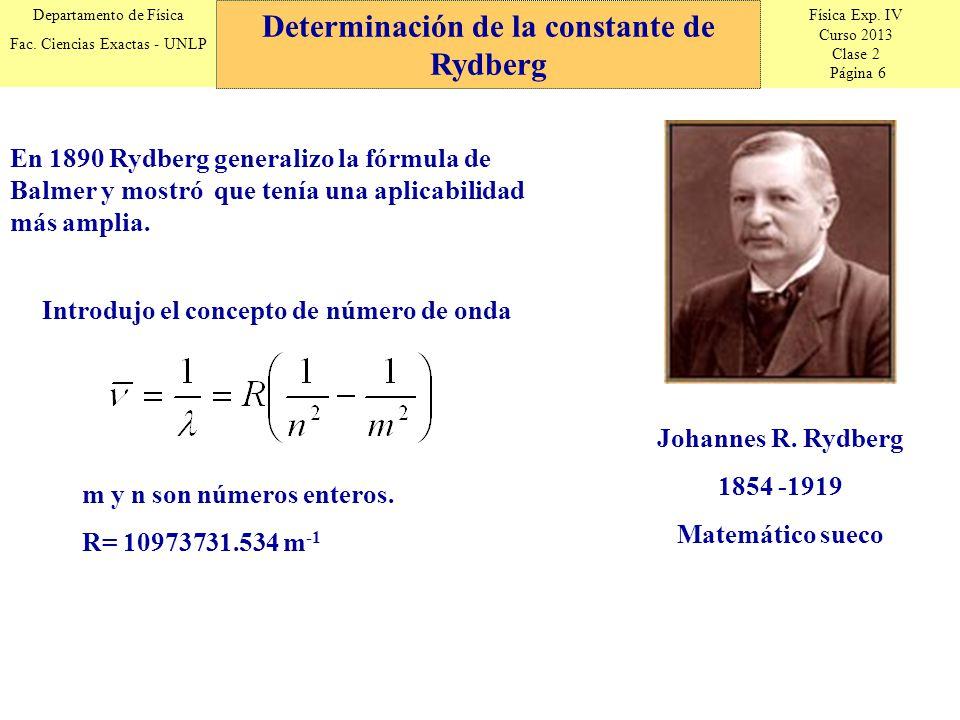 Física Exp. IV Curso 2013 Clase 2 Página 6 Departamento de Física Fac. Ciencias Exactas - UNLP Determinación de la constante de Rydberg Johannes R. Ry