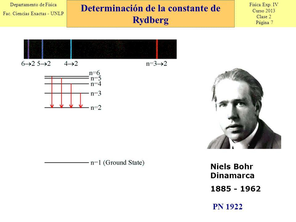 Física Exp. IV Curso 2013 Clase 2 Página 7 Departamento de Física Fac. Ciencias Exactas - UNLP Determinación de la constante de Rydberg Niels Bohr Din