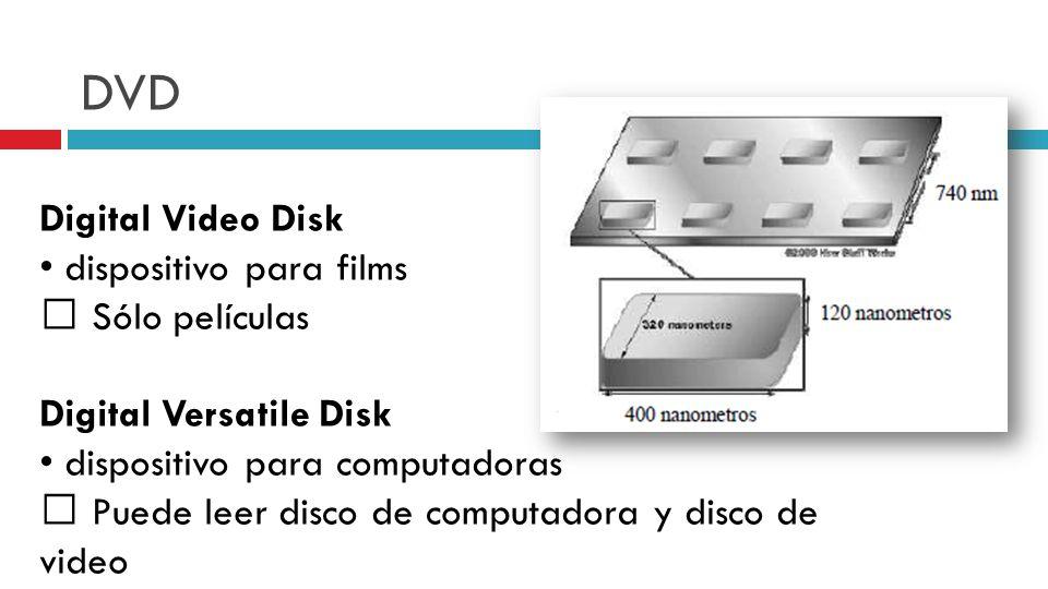 DVD Digital Video Disk dispositivo para films Sólo películas Digital Versatile Disk dispositivo para computadoras Puede leer disco de computadora y disco de video