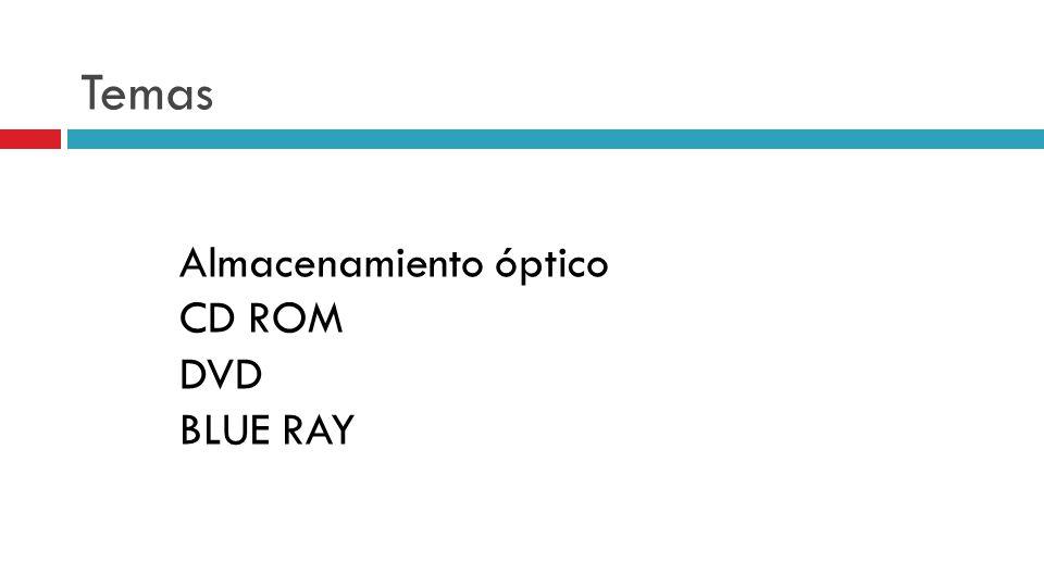 Temas Almacenamiento óptico CD ROM DVD BLUE RAY