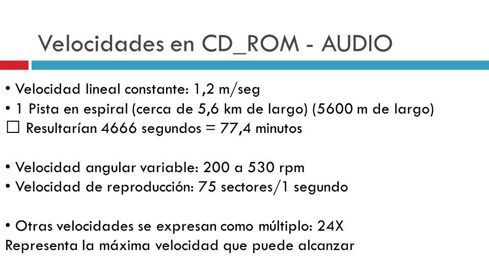Velocidades en CD_ROM - AUDIO Velocidad lineal constante: 1,2 m/seg 1 Pista en espiral (cerca de 5,6 km de largo) (5600 m de largo) Resultarían 4666 segundos = 77,4 minutos Velocidad angular variable: 200 a 530 rpm Velocidad de reproducción: 75 sectores/1 segundo Otras velocidades se expresan como múltiplo: 24X Representa la máxima velocidad que puede alcanzar