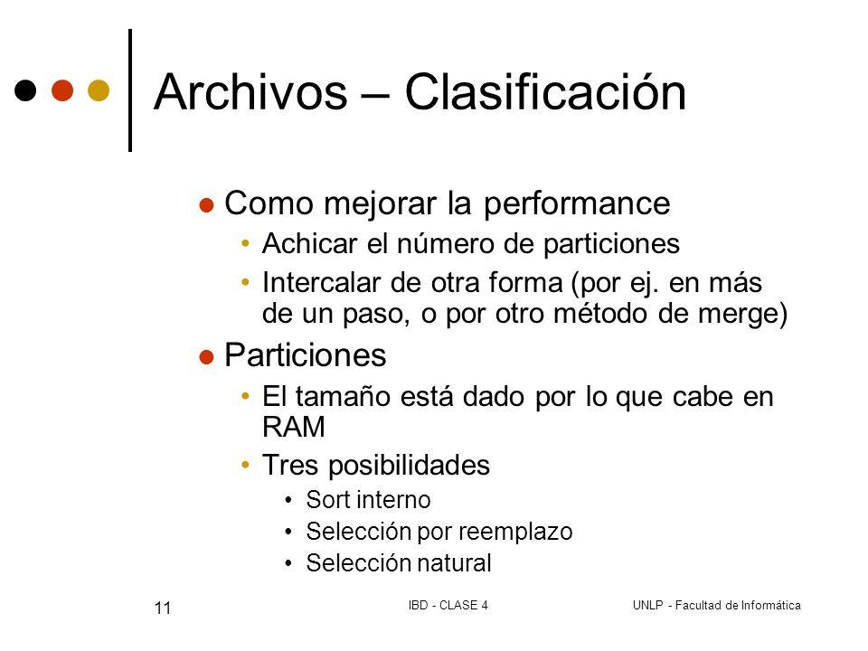 UNLP - Facultad de InformáticaIBD - CLASE 4 11 Archivos – Clasificación Como mejorar la performance Achicar el número de particiones Intercalar de otra forma (por ej.