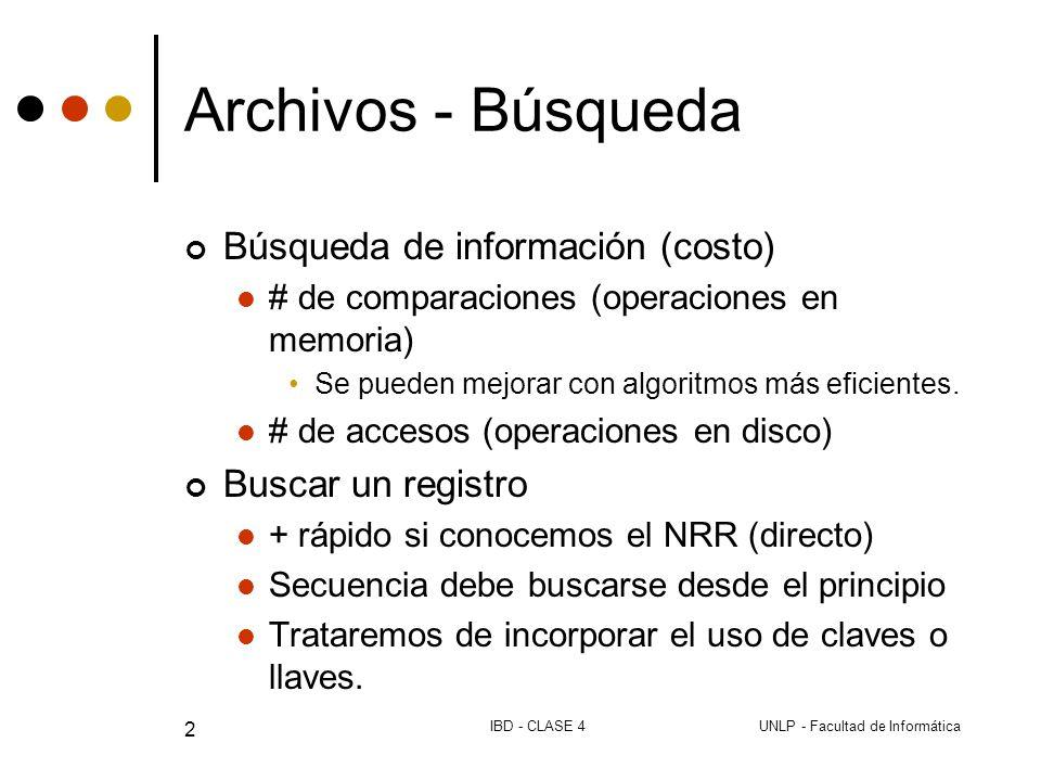 UNLP - Facultad de InformáticaIBD - CLASE 4 2 Archivos - Búsqueda Búsqueda de información (costo) # de comparaciones (operaciones en memoria) Se pueden mejorar con algoritmos más eficientes.