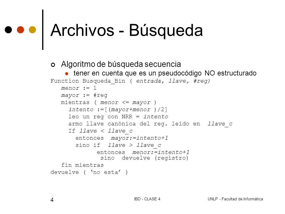 UNLP - Facultad de InformáticaIBD - CLASE 4 4 Archivos - Búsqueda Algoritmo de búsqueda secuencia tener en cuenta que es un pseudocódigo NO estructurado Function Busqueda_Bin ( entrada, llave, #reg) menor := 1 mayor := #reg mientras ( menor <= mayor ) intento :=[(mayor+menor )/2] leo un reg con NRR = intento armo llave canónica del reg.